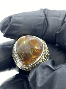 Deep Red Banded Lake Superior Agate Ring set in .950 Sterling Silver Size 12