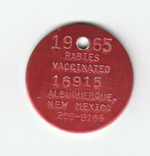 1965 ALBUQUERQUE NEW MEXICO RABIES VACCINATED DOG TAG #16915