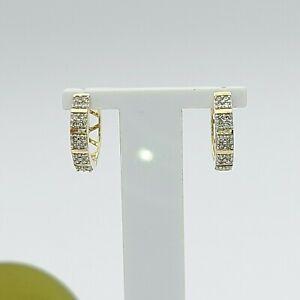 Ladies Earrings 10ct Yellow Gold (40) 0.40ct Natural Diamond Round Hoop Earrings