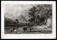 CASTLE CRAG, BORROWDALE 1840 Joseph Clayton Bentley - Thomas Allom ENGRAVING