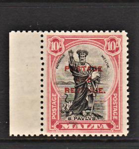 MALTA. 1928. GV. 10/-  BLACK & CARMINE ST PAUL OPTD DEFINITIVE. REGUMMED? Sg.192