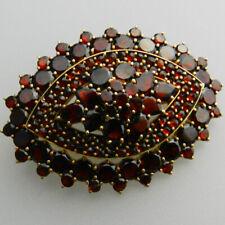 Sehr schöne alte vergoldete Granat Brosche - V131