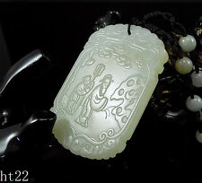 Certificated Natural Hand-carved Hetian Jade Pendant jadeite Necklace fan ht22