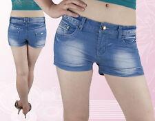 Neues AngebotDamen Shorts Hose Jeans Hot Pants Kurz Hüftig Blau 36 38 40 42