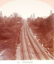 RR Railroad Stereoview Train Track OIL WELL Scio OH Harrison County Buckeye OHIO