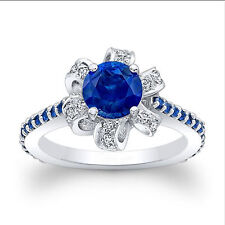 14K Solid White Gold 1.66 Ct Natural Diamond Real Blue Sapphire Engagement Ring