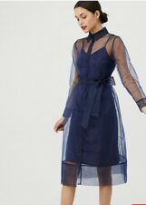 V By Very Organza Tie Waist Dress - Navy  Size 10 Rrp £55