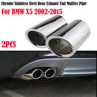 2Pcs Chrome Stainless Steel Rear Exhaust Tail Muffler Pipe For BMW X5 2002-2015