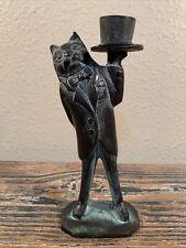 Vintage Bronze Cat Butler Statue