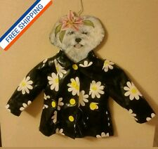 Girl's 24 Mo, KIDS HEADQUARTERS Big White Daisy Flowers Black Raincoat Jacket