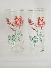 retro vintage glassware 2 rose design long glasses tumblers