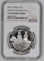 2017 Great Britain Silver Proof £5 Platinum Wedding Anniversary NGC PF70UC