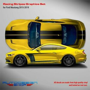 Mustang 2015 - 2019 Set of Stripes Over the Top & Accent Side Graphics