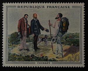 Timbre poste. FRANCE. n°1363. Bonjour Mr Courbet. peinture