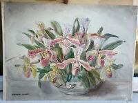 MARION BROOM WATERCOLOUR UNFRAMED SUBJECT LILIES