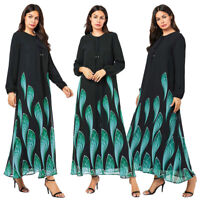 Dubai Printed Abaya Muslim Women Long Maxi Dress Cocktail Party Kaftan Jilbab