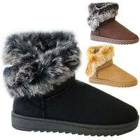 Ladies Fur Lined Ankle Snow Boots Womens Snug Grip Sole Winter Warm Shoes Size