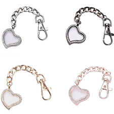 Crystal Floating Glass Locket Memory Heart Keychain Pendant Keyring Accessories