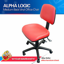 Desk Chair, Red Vinyl Office Computer Study Home, Gas Lift Chairs Typist  AFRDI