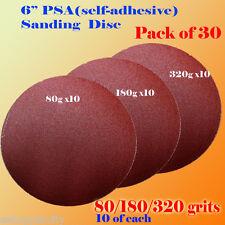 "30x 6"" PSA Self Adhesive 80/180/320  Grit Sanding Disc Stick On Sandpaper Peel"