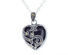 """Marcasite & Onyx Pendant Charm Necklace with 20"""" (51cm) Long Trace Chain"""