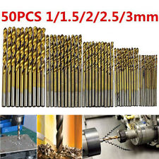 50Pc 1/1.5/2/2.5/3mm Titanium Coated HSS High Speed Steel Drill Bit Sets MetalZC