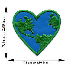 Heart Earth Save The World Love Planet Logo Peace Applique Iron on Patch Sew