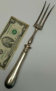 Antique French Christofle Carving meat large fork serving piece silverplated