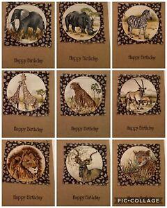 Handmade Birthday Card Fabric Safari (B) blank for own message. Giraffe Elephant
