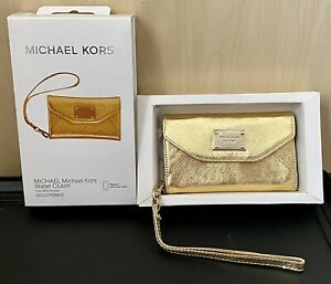 Michael Kors iPhone 5 Leather Wallet Clutch Wristlet Gold Pebble Brand New!