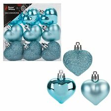 Snow White Shatterproof Christmas Tree Decoration - 9 Pack 40mm Hearts Ice Blue