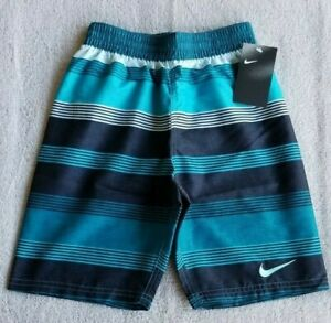 NWT Boys Nike NESS9672-448 Swim Volley Shorts Trunks w/liner Striped Blue L