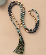 Natural Gemstone  Lava Rock | Jasper Mala Beaded long Tassel Necklace Boho