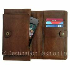 Ladies Brown Leather Universal Mobile Phone Purse Wallet Case For ID Cards Money