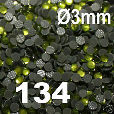 iron-on 250 Strass thermocollant RHINESTONE hotfix Ø 3 mm ss10 PERIDOT N° 134