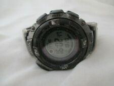 Casio Pathfinder Triple Sensor Silver Toned Link Band Wristwatch