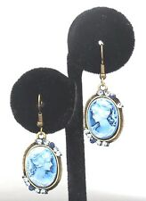 New Victorian Lady Style Cameo Austrian Crystal Oval Dangle Earrings Blue