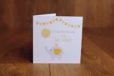 Personalised Handmade Unisex unknown Yellow Girl Boy Baby shower Card