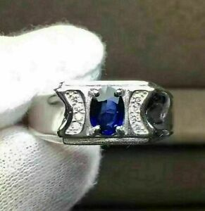 Men's Engagement Wedding Statement Ring 14K White Gold 2.05 Ct Oval Sapphire