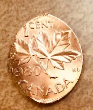 1980 Canada Cent Struck on an Elliptical Planchet Mint Error Bright red 1.9g