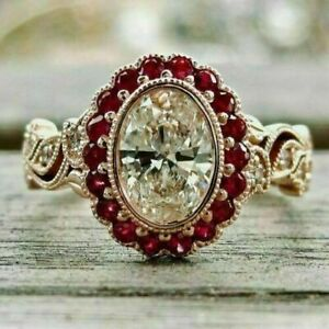 3.00Ct Oval Cut Diamond & Red Ruby Women's Engagement Ring 14K Rose Gold Finish.