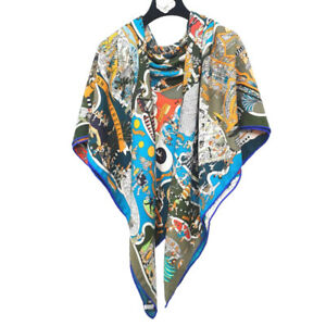 """Cashmere Silk Thin Scarf Double-sided Museum Print Shawl Pashmina Stole 53""""x53"""""""