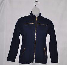 Bob Mackie Ponte Knit Jacket with Zipper Detail Size S Navy