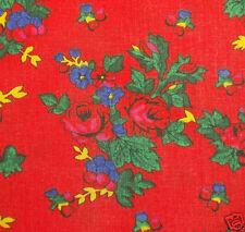 FOLK COSTUME FABRIC 100% cotton red floral print new skirt/shawl Poland Ukraine