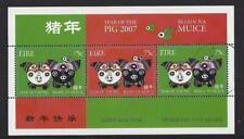 IRELAND 2007 YEAR OF THE PIG  MINIATURE SHEET FINE USED