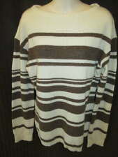Garnet Hill 100% Cashmere Cream Brown Striped Rib Knit Sweater L