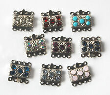 VINTAGE RHINESTONE JEWELRY CLASP SWAROVSKI ELEMENTS 4 strand • 14mm • ASSORTED