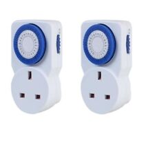 2 x 24 Hour 24HR Mains Plug-In Auto TIMER SWITCH Clock Socket UK 3 PIN LIGHTS