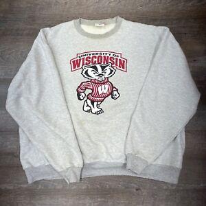 Champion Men 2XL Sweatshirt Wisconsin Badgers Heather Gray Distressed