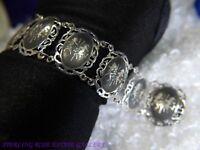 """1 1/8"""" wide Siam Dancing Ladies 0.925 Sterling Silver Estate 6 1/2"""" Bracelet"""